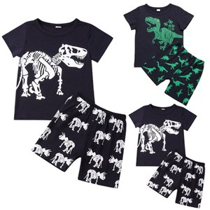 2019 Summer Short Sleeve Dinosaur Top Pants Outfits Casual Suit 2-8Y Black Cotton Tracksuit 2pcs Toddler Kid Boys Clothes Set