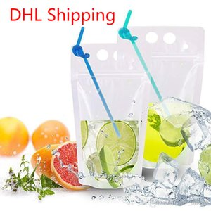 DHL Shipping Hot Clear Drink Pouches Bags frosted Zipper Stand-up Plastic Drinking Bag with straw with holder Reclosable Heat-Proof FY4061