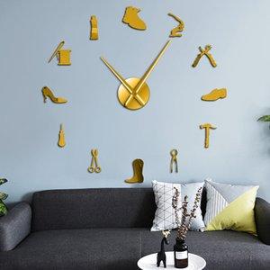 Sapato Equipamento de Reparação Adesivos de Parede Loja de Sapatos Grande Decorativo Relógio De Parede Sapateiro Home Decor Relógio de Tempo Sem Moldura