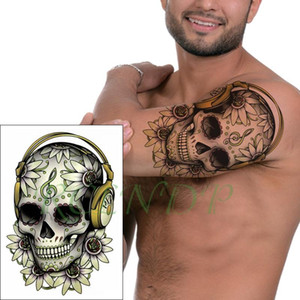 Flor do crânio etiqueta impermeável tatuagem temporária Nota Musical Headset Falso Tatto flash Tatoo Big Size tatuagens para a menina Mulheres Homens