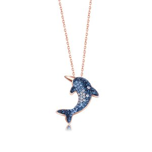 2019 hot new dolphin pendant s925 silver necklace Korean fashion gradient blue crystal necklace boutique women's jewelry