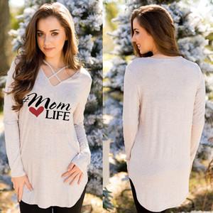 Mode casual manches longues Loose Women Summer Tops Coton T-shirt Automne Noir Gris Rouge