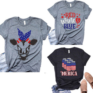 Women Casual Printed Shirt American Flag Independence National Day USA 4th July Star Stripe Letter Printing Plus Size Women Tees