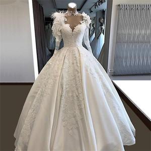 Ricami in 3D Abiti fiori di pizzo Country Wedding gli abiti di sfera 2020 Alta collo piume Sheer maniche lunghe vestidos da sposa nuziale Partito Dres