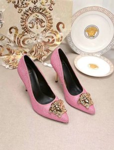 20ss Women Bowtie High Heel Shoes European Brand Designer Chunky Shoes Genuine Leather Comfortable Footwear Ladies Luxurye size woman shoes