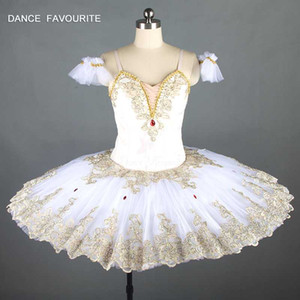 Nueva bella durmiente variación tutús de ballet profesional de las mujeres crema blanca y ballet clásico de oro del traje del vestido del tutú de Raymonda