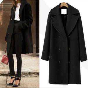 Kış yün ceket ve ceket kadın Kore uzun ceket sıcak zarif siyah yün ceket vintage pelerin kadın siper rüzgarlık