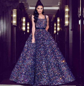 Sparkly Sequins Beaded vestido de baile Prom Vestidos Praça Spaghetti árabe Dubai Princesa ocasião Vestido Vestido de quinceanera