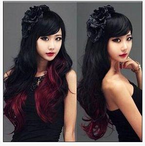Черный Постепенное Вино Красный Длинные Вьющиеся Волосы Дамы Пушистые Длинные Волосы Девушки Реалистичные Моды Парик Набор Прямых Продаж Завода