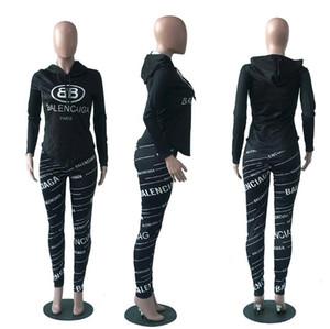 2019 Ensemble de deux pièces d'automne à capuche femme Tops + pantalons sweat-shirts à rayures et survêtements Femme costume de sport