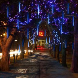 Lampe Haoxin Paysage 30cm 50cm Meteor Shower Rain 8 tubes par set LED de lumières étanche pour extérieur Décor d'arbre de Noël avec Plug