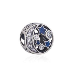 HotStarTaq Mond Perlen Sternen Märchen Blue Series Marke Pan-dora Bead 925 Sterlingsilber für Frauen Armband Halskette Anhänger Schmuck-Geschenk W64
