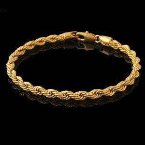 Bracciale 21 centimetri lungo 4mm larghi ritorto polso catena oro giallo 18 carati corda riempito il braccialetto delle donne Moda Uomo