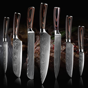 """Alta quali faca Chef, 8 """"de cozinha de aço Chef faca imitação Damasco padrão inoxidável afiada corte faca presente Professional japonês"""