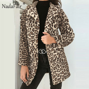 Quente Womens Long Sleeve Leopard Impresso Faux Fur Coats inverno de espessura pêlo longo Feminino Casacos Casacos