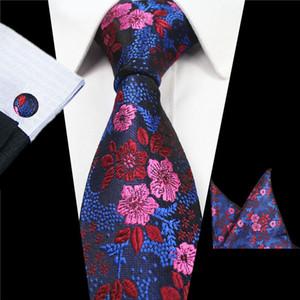 RBOCOTT 새로운 패션 꽃 넥타이 7cm 남성 넥타이 실크 자카드 목 넥타이 포켓 스퀘어 커프스 세트에 대한 웨딩 파티 정장 디자인