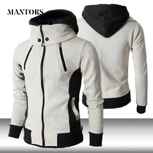 Men Zipper Hoodies Casual Fleece Autumn Winter New Solid Hooded Sweatshirt Tracksuit Scarf Collar Hooded Male Fitness Hoody Coat Y200704