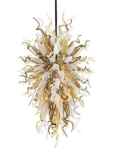 Hotel Pendant Lamp Energy Saving European Style Hand Blown Glass LED Crystal Chandeliers with LED Bulbs