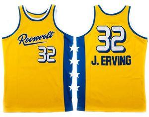 Roosevelt Lise Julius Dr. J Erving # 32 Retro Basketbol forması erkek dikişli özel numarası adı formalar