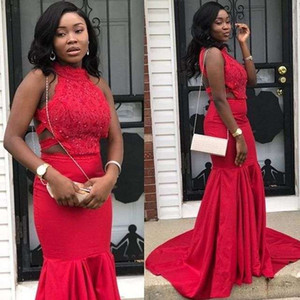 2019 Elegant Red Backless Prom Dresses Halter Neck Mermaid Lace Appliques Black Girls 2K 19 Formal Evening Occasion Party Dresses