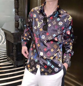 LuwedenT Marca nueva camisa de vestir de los hombres Moda Harajuku Camisa Casual Hombres de lujo Medusa Negro Oro Fancy Impresión 3D Slim Fit camisas