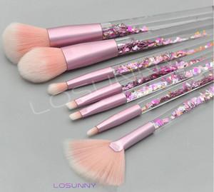 LOSUNNY 7 Pcs New Transparente de Cristal Lidar Com Pincel de Maquiagem DIY Tubo Vazio Areia Quicksand Óleo De Enchimento Lantejoulas Broca Grânulos lip gloss
