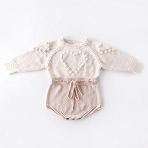 bambino abiti firmati pagliaccetto lavorato a maglia manica lunga amore cuore design pagliaccetto vestiti pagliaccetti caldi ragazza 100% cotone 0-2T