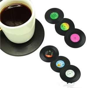 Boissons de table Coupe Mat Rétro Vinyle Sous-verres 6pcs / set boisson CD enregistrement café napperon Arts de la table Spinning Home Decor DHL gratuit LXL902-1