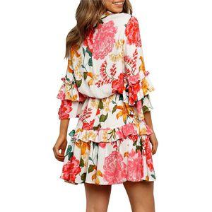 Çiçek Baskı Elbiseler Yaz Lüks Petal Kollu Giyim Tasarımcı Asimetrik Fermuar Sashes dekore Elbise Womens