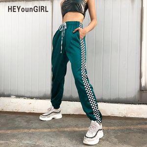 Heyoungirl Patchwork Checkerboard Ribbon Pants Womens Casual Joggers sueltos pantalones de cintura alta pantalones de chándal Streetwear Harem Pants MX190716