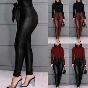 Pantalones mujeres del otoño Pantalones de cuero femenina de las mujeres del invierno de cintura alta pantalones de cuero de las mujeres de la PU flaco estiramiento Lápiz Pantalones