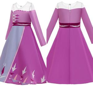 Vestito a maniche abito di Natale Bambini di Halloween Carnevale Elza ragazze costume di cristallo lungo