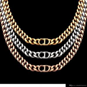 donne designer di gioielli di lusso collane in oro rosa spesse catene collane con bracciale in acciaio CD e collegamento di modo vestito della collana