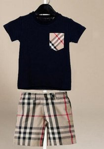 Новый стиль Дизайнер Дети Baby Boy девушка футболка + брюки Двухсекционный 1-7 лет Костюм Престижное Детская 2pcs Одежда Наборы