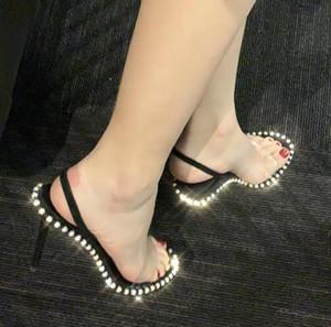 Nova cristal adornado visten las sandalias de diseño de lujo de la sandalia del slingback 90mm zapatos de tacón alto zapatos de tamaño 34 a 40 tradingbear