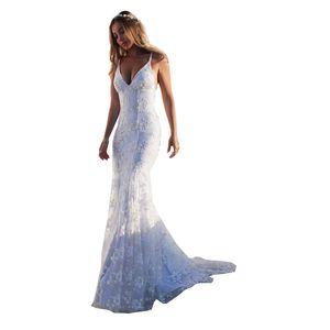 V-neck Sexy Suspender Vestido europeu e americano de comércio exterior novas Lace Backless Banquete vestido de noite