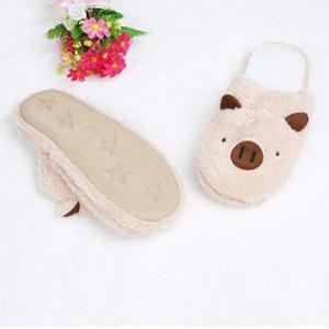 Venta caliente-2019 Nuevas Mujeres Encantadoras Flip Flop Forma de Cerdo Lindo Piso en el Hogar Zapatillas de Raya Suave Zapatos Femeninos Niñas Invierno Primavera Cálido zapatos