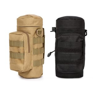 NEW-2pcs Outdoors Durable Water Bottle Pouch Gear Kettle Waist Shoulder Bag for Climbing Camping Hiking Bags - Yellow Brown & Bl