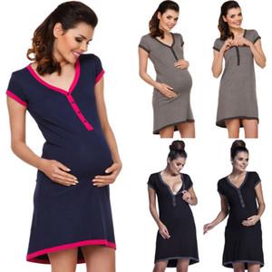 2020 Mais recente criativa Enfermagem grávida Casual Mulheres Maternidade Comfy Vestido Amamentação Dress 3 Cores Amamentação Vestem