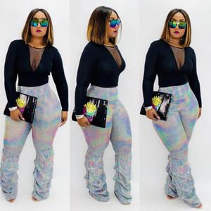 Le plus récent bling bling Paillettes Argent femme Pantalons mode taille haute Striaght Cadrage en pied monceaux de pantalons 2020 Printemps Automne