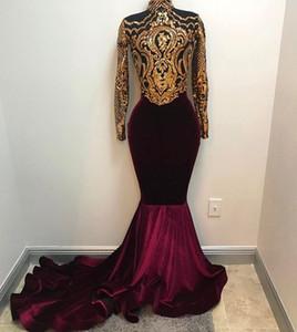 실제 사진 2020 아프리카 골드, 부르고뉴 공주 댄스 파티 드레스 높은 목 긴 소매 벨벳 이브닝 드레스 아랍어 파티 드레스