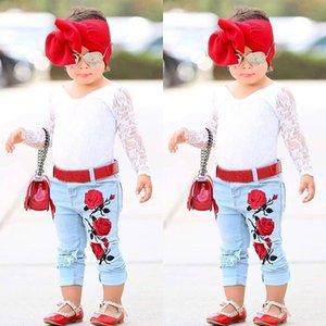 Pudcoco autunno bambino Ragazza bianca Pizzo Top T-shirt Pantaloni jeans Jeans Abiti di fiori Abbigliamento Fiore Bambini Neonate Set di vestiti