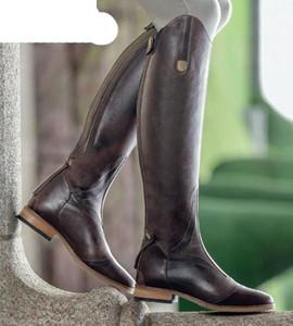 Nuevo mujeres frescos jinete Hípica Botas Smooth de rodilla del cuero de alta botas de invierno otoño caliente de alta montaña botas de montar