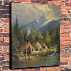 Teton Vadisi At Çadır Ev Ev Dekorasyonu El Sanatları / HD Baskı Yağlıboya Resim Tuval On Wall Art Canvas Resimler 191.103