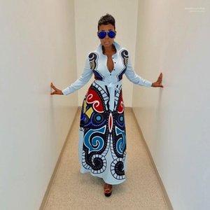 Femmina casuale Floral Designer lungo del vestito farfalla stampata delle donne lungo Shirt Dress