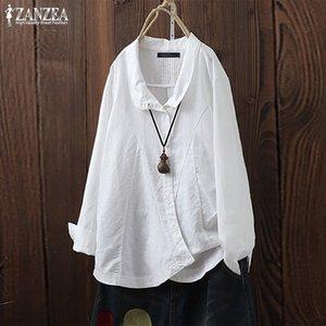 Cotone da donna Vintage Lino camicetta 2019 ZANZEA Plus Size Donna Tunica irregolare Camicie Chemise a manica lunga a pieghe Blusas