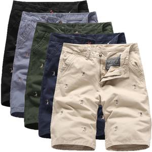 2020 Verão Novo Estilo homens do desenhista s algodão Casual Shorts Mens Hetero bordados calças no joelho Negócios calças