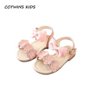 CCTWINS 키즈 2018 여름 여자 맨발의 버터 플라이 샌들 유아 패션 진주 파티 공주의 신발 베이비 브랜드 플랫 아이 BP394