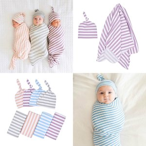 Bebê recém-nascido cobertor de algodão listrado Toddler Sleepsacks Toalhas Embrulhado infantil holding cobertor knotted tampa do tampão do bebê Berçário Cama M095