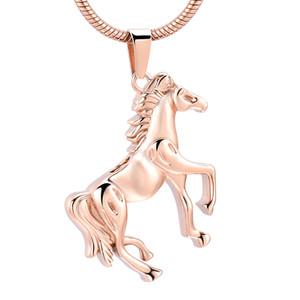 h10072 or Rose Memorial Running Horse Crémation en acier inoxydable Pendentif pour Ashes Urn Collier Keepsake pour les hommes Bijoux
